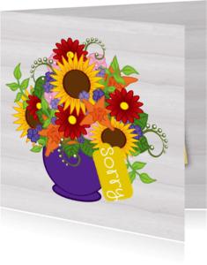 Sorry kaarten - Bloemen sorry kaart -JH