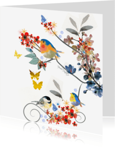 Zomaar kaarten - Bloemen vlinders Blanco