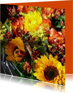 Bloemenkaarten - Bloemen zonnig Herfstboeket