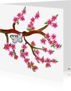 Bloemenkaarten - Bloesemvlinder PA