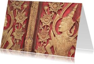 Religie kaarten - Boeddha afbeelding op deur
