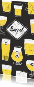 Uitnodigingen - Borrel uitnodiging getekende biertjes