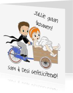 Trouwkaarten - Bruidspaar op de bakfiets