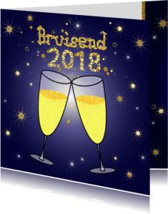 Nieuwjaarskaarten - Bruisend 2018 champagne bubbels
