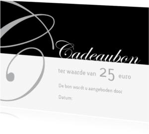 Kaarten mailing - Cadeaubon zilver zwart liggend