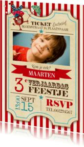 Kinderfeestjes - Circus Ticket Uitnodiging Jongen