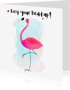 "Coachingskaarten - ""Coachingkaartje flamingo keep your head up - SD"""