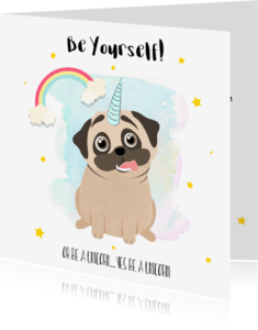 "Coachingskaarten - ""Coachingskaartje pug being a unicorn - SD"""