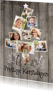 Kerstkaarten - Collage hout kerst 10foto's - BK