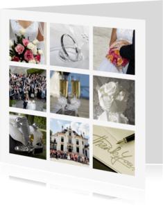 Trouwkaarten - Collage Trouwen 9 foto's - BK