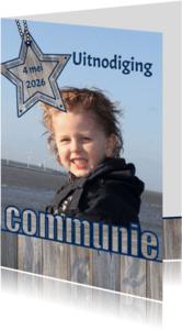 Communiekaarten - Communie FOTO stoer hout ster