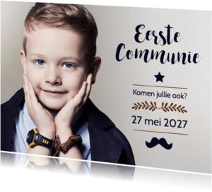 Communiekaarten -  Communie jongen grote foto - BK