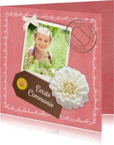 Communiekaarten - Communie label bloem - DH