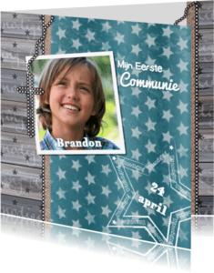 Communiekaarten - Communie Lentefeest ster hout
