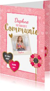 Communiekaarten - Communie lief, roze en glamour S