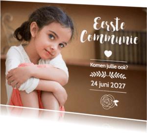 Communiekaarten -  Communie meisje grote foto - BK