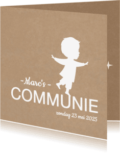 Communiekaarten - Communie Silhouet Jongen Kraft