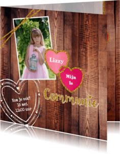 Communiekaarten - communie stoer lief en glitter V