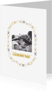 Communiekaarten - Communiekaart bloemen krans - HM