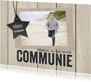 Communiekaarten - Communiekaart hout foto