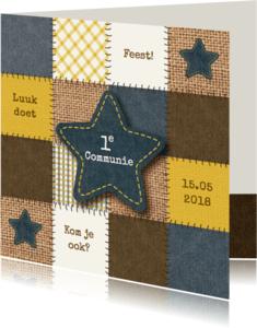 Communiekaarten - Communiekaart jongen patchwork