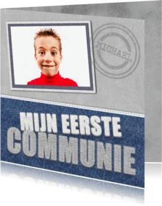 Communiekaarten - Communiekaart jongen stoer