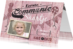 Communiekaarten - communiekaart meisje hout roze
