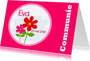Communiekaarten - Communiekaart met bloemen
