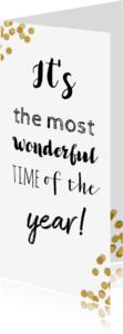 Kerstkaarten - Confetti goud it's the most wonderful time of the year - BK