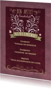 Kerstkaarten - Decoratief Roze Kerstdiner - BK