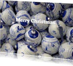 Kerstkaarten - Delftsblauwe Kerstballen