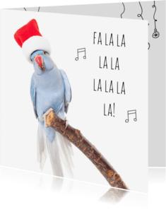Kerstkaarten - Dieren kerstkaart - Parkiet