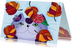 Dierenkaarten - Dierenkaart Kat in de herfst  - SK