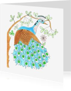 Dierenkaarten - Dierenkaart Pauw in de bossen