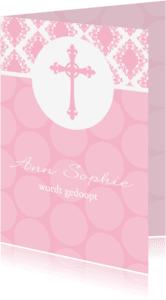 Doopkaarten - Doopkaart meisje Barok en polkadots