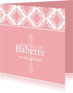 Doopkaarten - Doopkaart Roze Barok