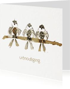 Uitnodigingen - drie musjes op een rij