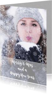 Kerstkaarten - Een kerstkaart met grote foto en ijskristallen