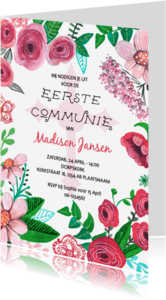 Communiekaarten - Eerste Communie Bloemen Strepen