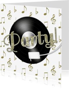 Uitnodigingen - Feest muziek LP goud