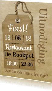 Uitnodigingen - Feest naamkaartje vintage a