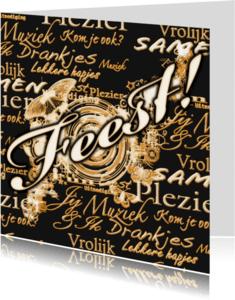 Uitnodigingen - Feest sier en woorden