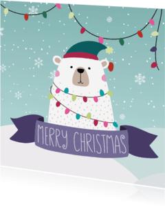 Kerstkaarten - Feestelijke ijsbeer met kerstgroet - SU