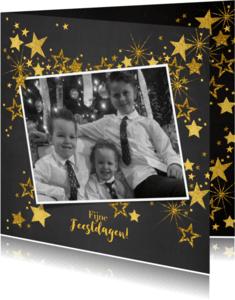 Kerstkaarten - Feestelijke kerst fotokaart gouden sterren