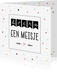 Felicitatiekaarten - Felicitatie - Confetti, vlaggetjes, meisje
