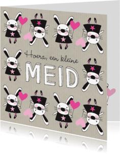 Felicitatiekaarten - Felicitatie dochter handgetekend konijn roze & Kraft - MW
