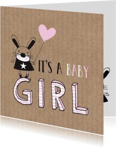 Felicitatiekaarten -  Felicitatie dochter silhouet konijn Kraft - MW