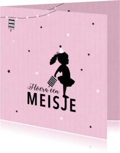 Felicitatiekaarten - Felicitatie dochter silhouet lampion roze - MW