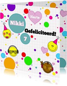 Verjaardagskaarten - Felicitatie game smiley meisje