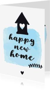 Felicitatiekaarten - Felicitatie Happy new home - zwart wit